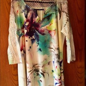 White Abstract Top